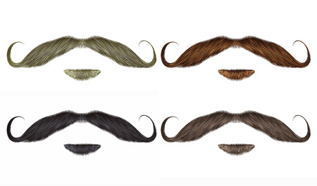set vector Beard and swirl mustache different colors.