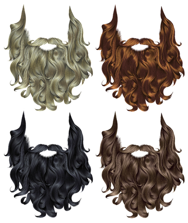 set long curly beard and mustache different colors.