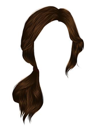modische Frauenhaare brünette braune Farbe .tail. Mode Schönheitsstil. Vektorgrafik