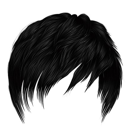 trendy woman man short  hairs brunette black colors . fashion beauty style . realistic  3d . Illustration