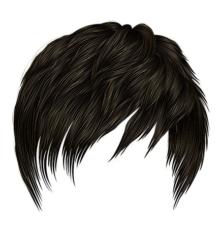 trendy  woman short  hairs  with fringe  . dark  brown   color .  beauty style . realistic  3d .
