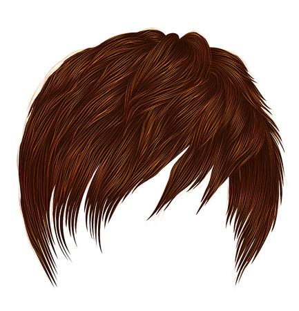trendy woman  man short  hairs  Red ginger redhead  colors . fringe . fashion beauty style . realistic  3d . Illustration