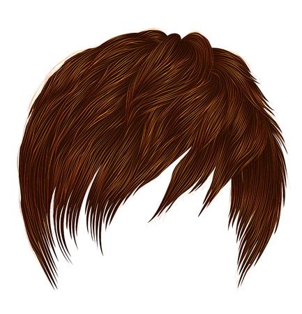 trendy woman  man short  hairs  Red ginger redhead  colors .  fringe . fashion beauty style . realistic  3d . Illusztráció