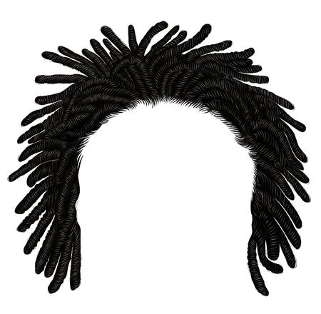 dreadlocks africains à la mode pour cheveux longs. 3d réaliste. style de beauté de la mode.