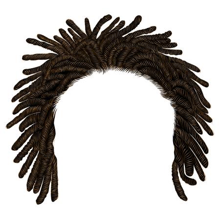trendige afrikanische Langhaar-Dreadlocks. realistische 3d. Mode Schönheitsstil. Vektorgrafik