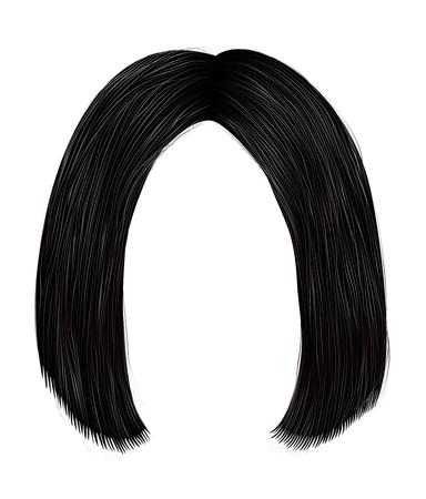 trendy hairs brunette black colors . kare parting . beauty fashion Illustration