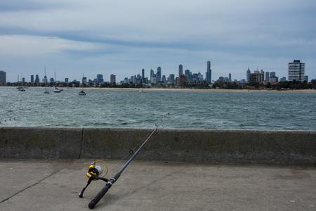 st kilda: Fishing at St. Kilda, Melbourne Australia