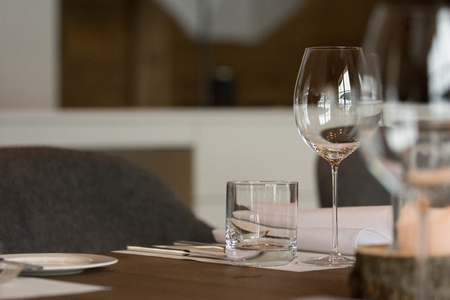 Elegantly decorated table with wine glasses