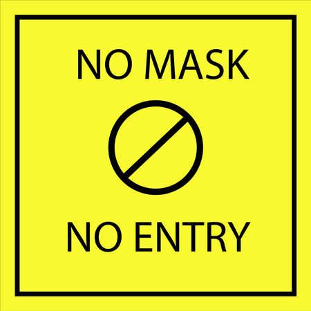 No mask no entry vector illustration poster, yellow background, mask awareness, novel corona virus.
