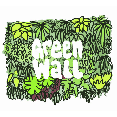 green wall: Green Wall Leaves and Type Sketch