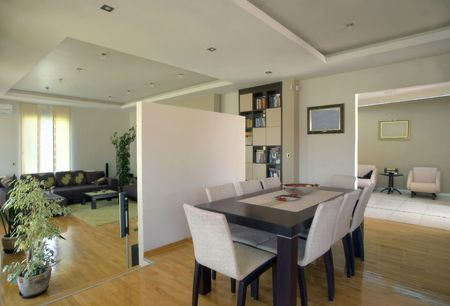 Interior of a modern house rooms in white with furniture. photo