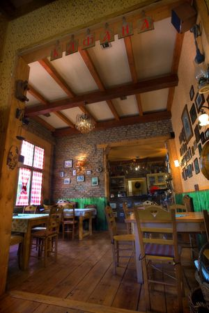Restaurant in retro vintage style, souvenirs and traditional decoration all around. photo