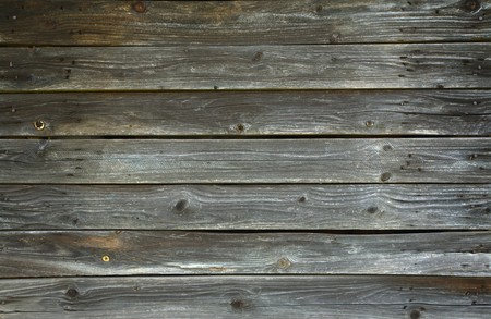 Pattern of old wood texture with rusty nails. Stock Photo