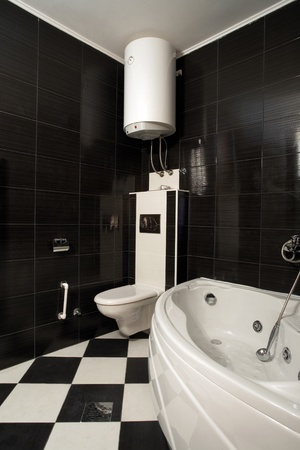 New small apartment bathroom in black. Stock Photo - 8551784