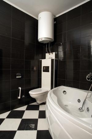 New small apartment bathroom in black. Stock Photo - 8551784
