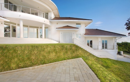 Modern house exterior, large and expensive house architecture. Stock Photo - 8582922