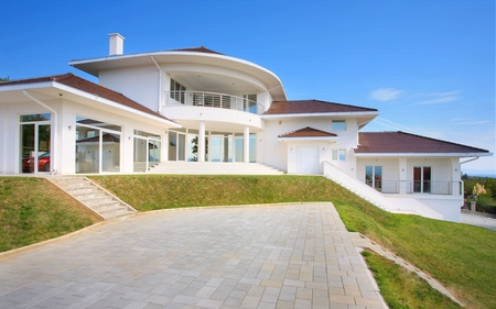 Modern house exterior, large and expensive house architecture. Stock Photo - 8582920