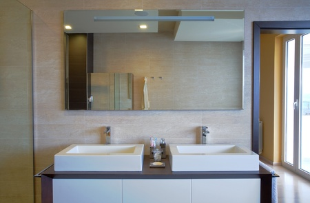 Modern house bathroom interior with simple and expensive furniture. photo