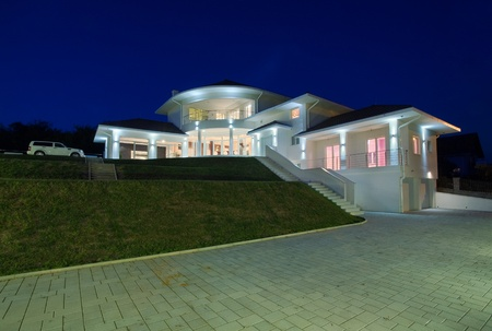 Modern house exterior, large and expensive house architecture. photo