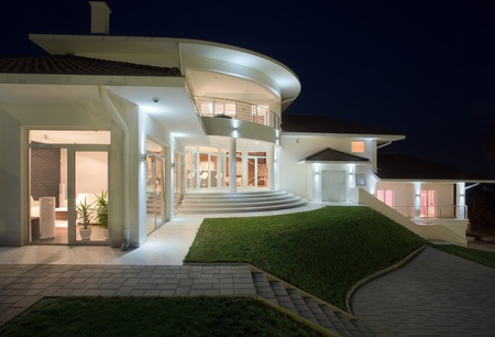 architectural exterior: Modern house exterior, large and expensive house architecture. Stock Photo