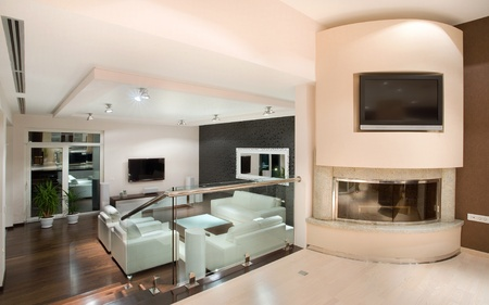 Modern house interior, large and expensive house architecture. photo