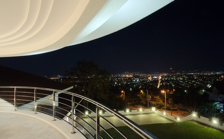 View from a large modern terrace, simple and large in white.