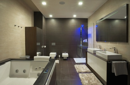 Modern house bathroom interior with simple and expensive furniture. Stock Photo