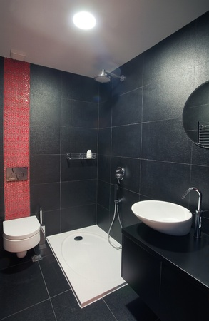 architectural designs: Modern house bathroom interior with simple and expensive furniture. Stock Photo