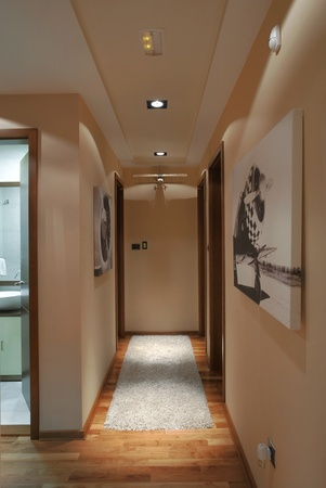 Halls of a modern apartment with lighting equipment. photo