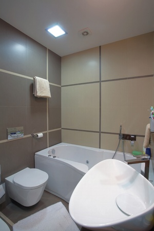 Modern bathroom interior, minimal design style, simple and attractive furniture. photo