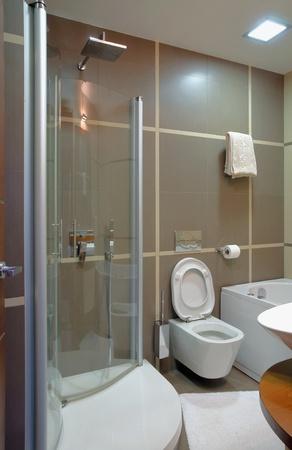 Modern bathroom interior, minimal design style, simple and attractive furniture. photo