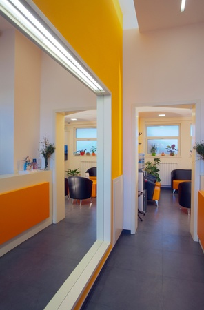 Office entrance, modern and simple in orange and white. Stock Photo - 8664056