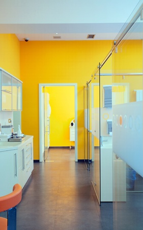 Interior of a dental clinic, simple and modern minimal design. photo