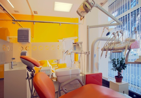 medicine cabinet: Interior of a dental clinic, simple and modern minimal design. Stock Photo