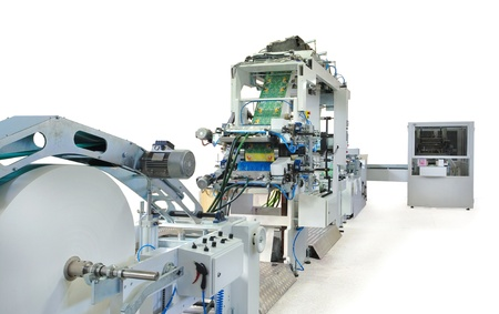 packaging industry: Details of a printing and packaging machines.