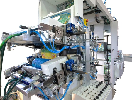 machine part: Details of a printing and packaging machines.