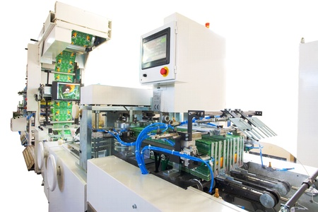 creative industries: Details of a printing and packaging machines.