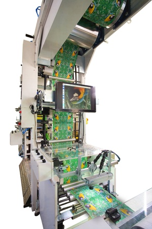 Details of a printing and packaging machines. photo