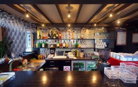wooden ceiling: View of the bar in a pub. Stock Photo