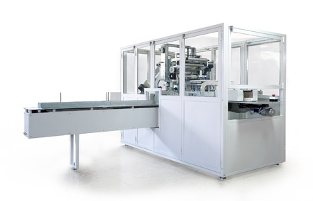 handkerchiefs: Packaging machine for rolls, serviettes and handkerchiefs.  Stock Photo