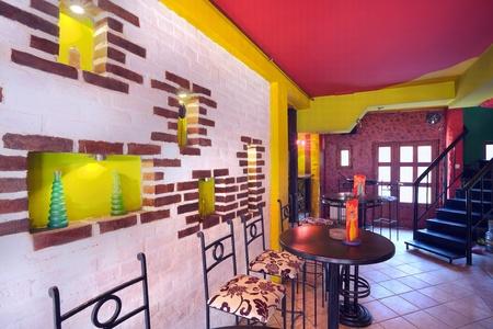 bar interior: Interior of modern cafe, mainstream, modern pop style.