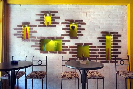 Interior of modern cafe, mainstream, modern pop style.