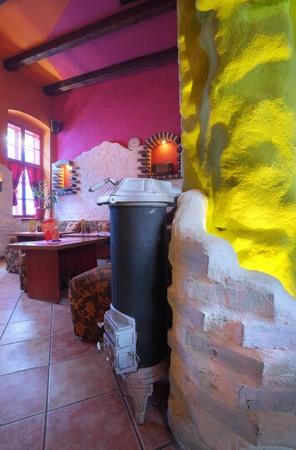 Interior of modern cafe, mainstream, modern pop style.  photo