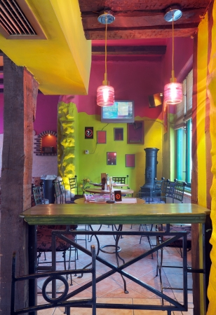 Interior of modern cafe, mainstream, modern pop style. Stock Photo - 9110392