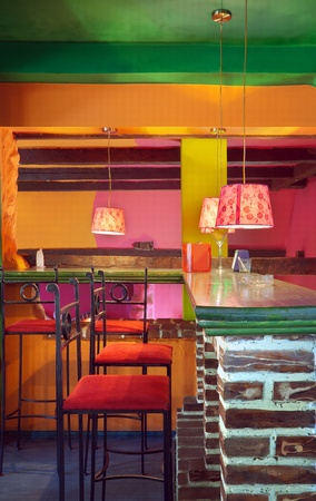 wall bars: Interior of modern cafe, mainstream, modern pop style.