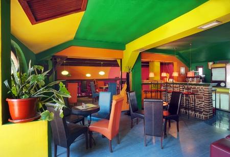 mainstream: Interior of modern cafe, mainstream, modern pop style.