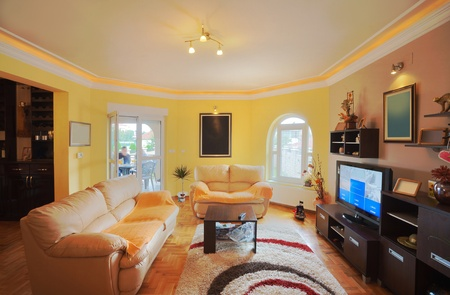 Interior of a classical living room with furniture and multimedia equipment.  photo