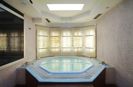 Interior of a hotel jacuzzi, modern and simple style.  photo