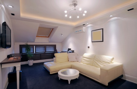apartment interior: Interior of a hotel apartment with furniture, modern contemporary design.