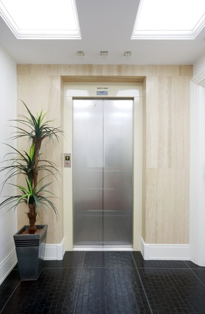 Closed elevator door in a hotel.